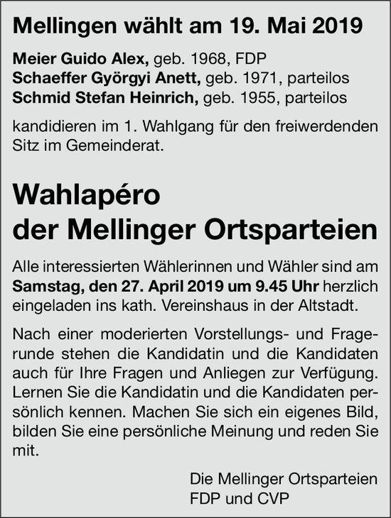 Mellingen wählt am 19. Mai 2019: Wahlapéro der Mellinger Ortsparteien am 27. April