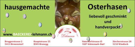 Bäckerei Lehmann - Hausgemachte Osterhasen, liebevoll geschminkt & handverpackt