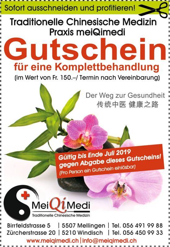 Traditionelle Chinesische Medizin Praxis meiQimedi - Gutschein für eine Komplettbehandlung