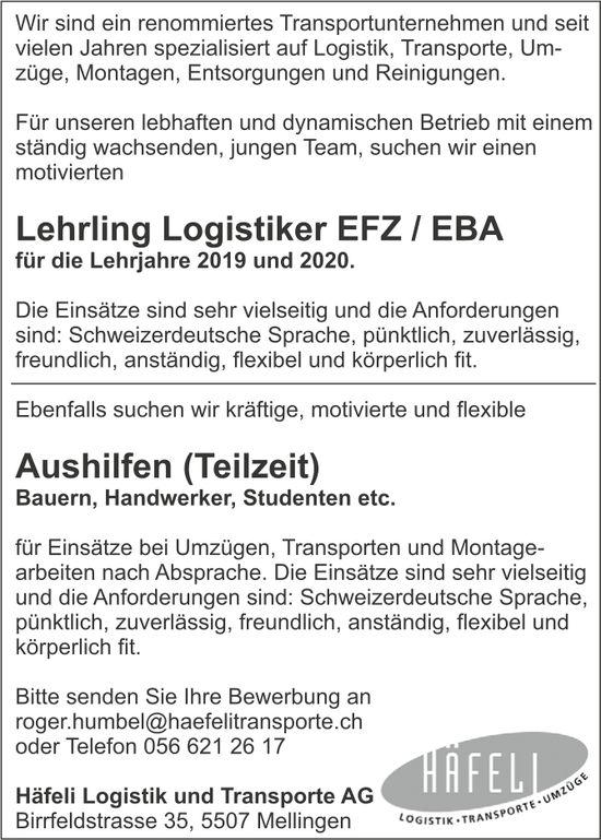 Lehrling Logistiker EFZ/EBA sowie Aushilfen (Teilzeit) bei Häfeli Logistik und Transporte AG gesucht