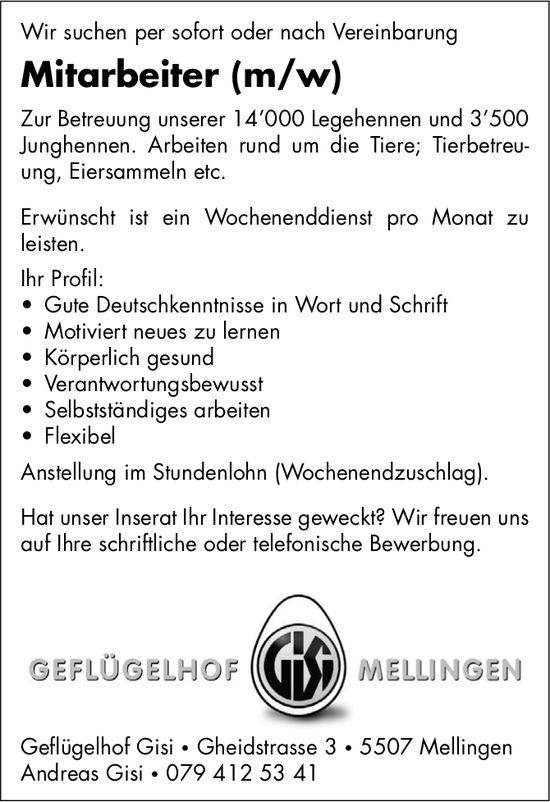 Mitarbeiter (m/w) bei Geflügelhof Gisi gesucht