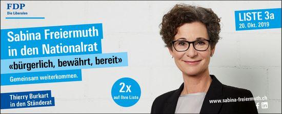 FDP - Sabina Freiermuth in den Nationalrat