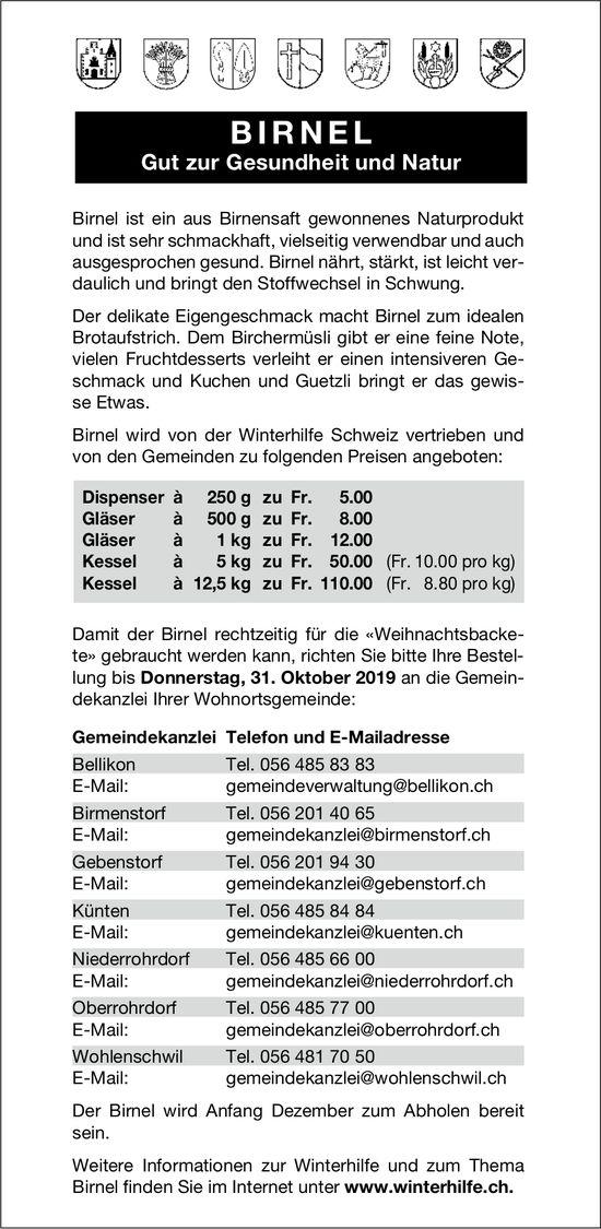BIRNEL - Gut zur Gesundheit und Natur. Winterhilfe: Bestellung bis 31. Oktober