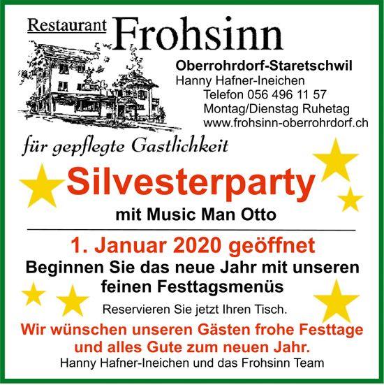 Restaurant Frohsinn - Silvesterparty mit Music Man Otto