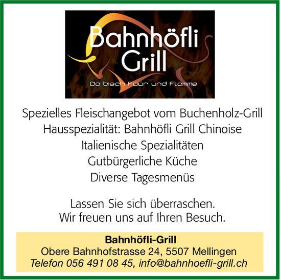 Bahnhöfli-Grill - Spezielles Fleischangebot vom Buchenholz-Grill