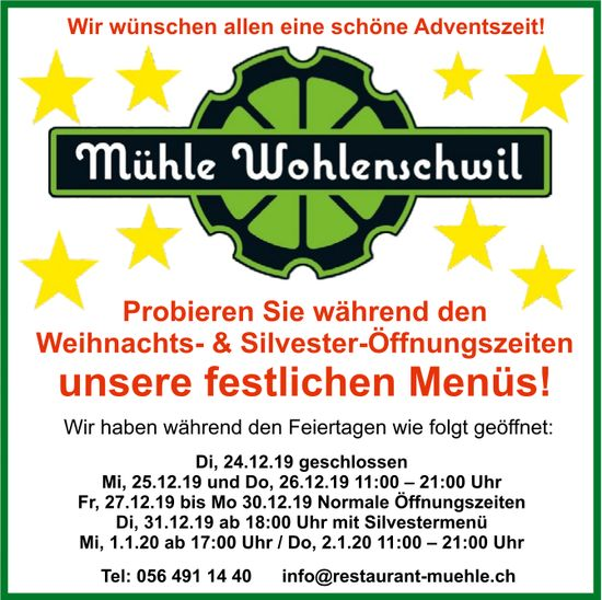 Mühle Wohlenschwil - Wir wünschen allen eine schöne Adventszeit!