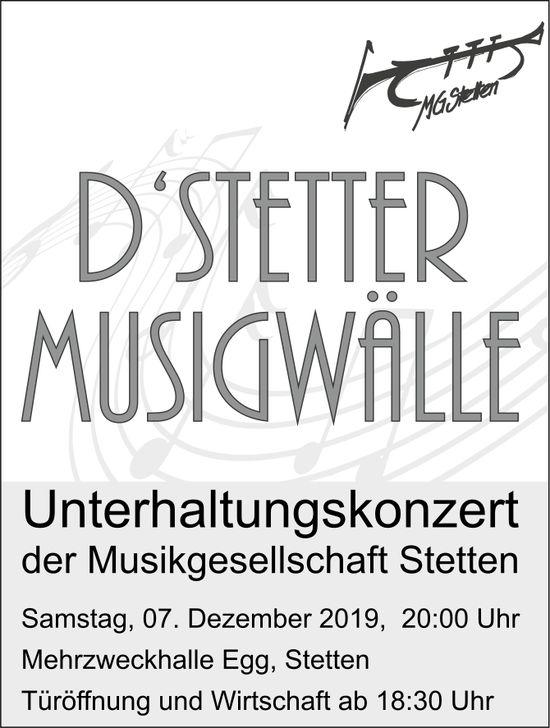 """""""D' STETTER MUSIGWÄLLE"""" - Unterhaltungskonzert der Musikgesellschaft Stetten am 7. Dezember"""