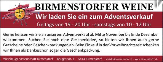 BIRMENSTORFER WEINE - Adventsverkauf Freitag + Samstag