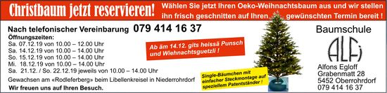 Baumschule ALFI - Christbaum jetzt reservieren!