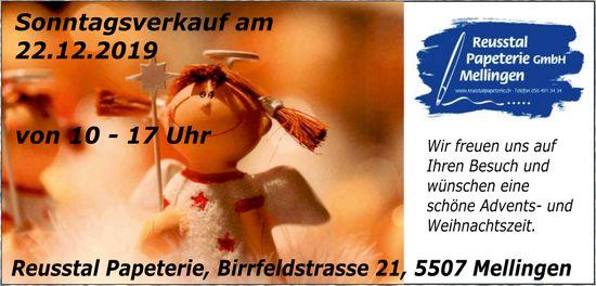 Reusstal Papeterie - Sonntagsverkauf am 22.  Dezember