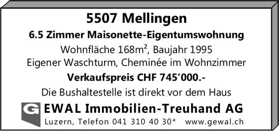 6.5 Zimmer Maisonette-Eigentumswohnung in Mellingen zu verkaufen