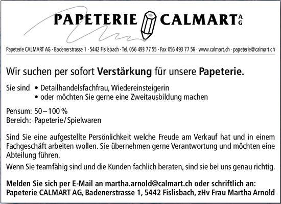Detailhandelsfachfrau, Wiedereinsteigerin bei Papeterie CALMART AG gesucht