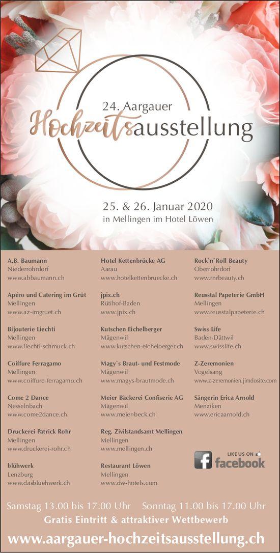 24. Aargauer Hochzeitsausstellung, 25. & 26. Januar in Mellingen