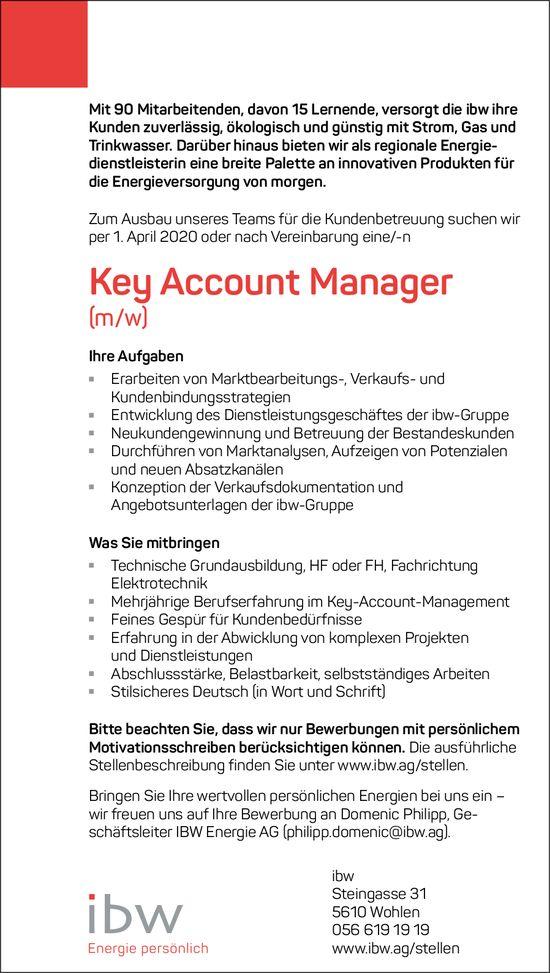 Key Account Manager, ibw Wohlen, gesucht