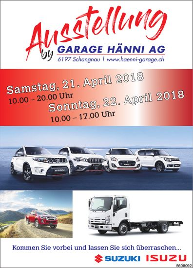 Ausstellung by Garage Hänni AG, Schangnau, 21. + 22. April