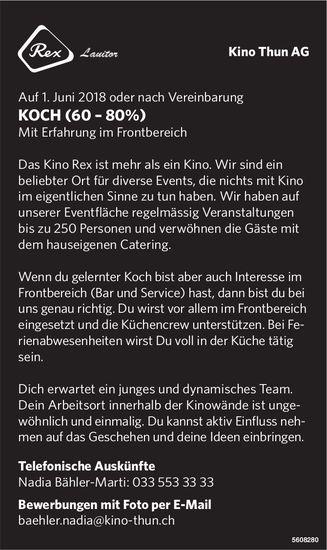 Koch, Kino Thun AG, gesucht