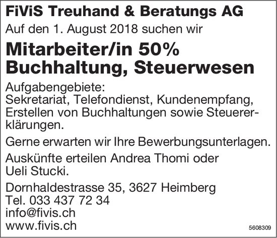 Mitarbeiter/in Buchhaltung, Steuerwesen, FiViS Treuhand & Beratungs AG, Heimberg, gesucht