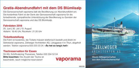 Vaporama - Gratis-Abendrundfahrt mit dem DS Blümlisalp