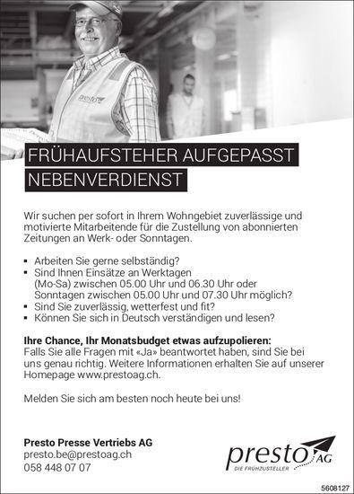 Nebenverdienst für Frühaufsteher, Presto Presse Vertriebs AG
