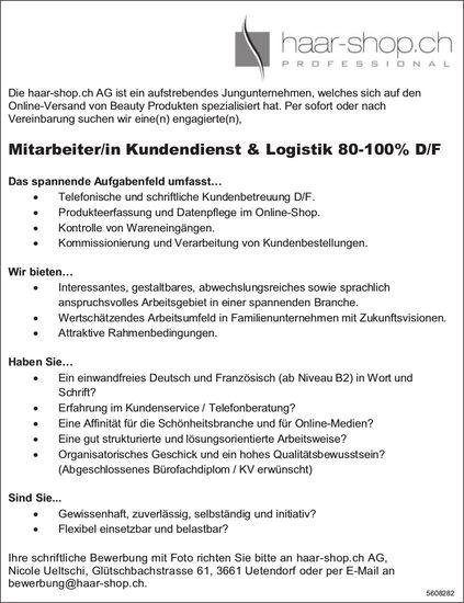Mitarbeiter/in Kundendienst & Logistik D/F, haar-shop.ch AG, Uetendorf, gesucht