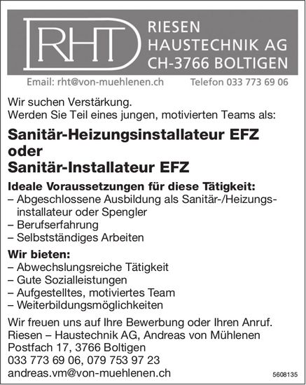 Sanitär-Heizungsinstallateur EFZ / Sanitär-Installateur EFZ, Riesen Haustechnik AG, Boltigen, gesuch