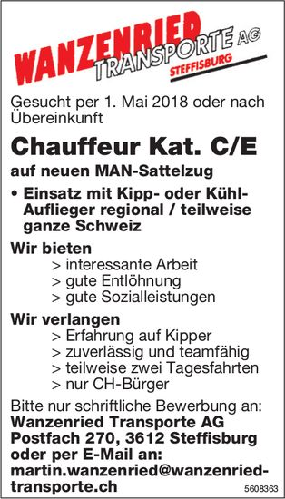 Chauffeur Kat. C/E, Wanzenried Transporte AG, Steffisburg, gesucht