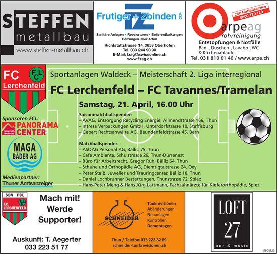 Meisterschaft 2. Liga interregional - FC Lerchenfeld vs. FC Tavannes/Tramelan am 21. Apr.