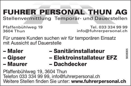 Temporär- und Dauerstellen, Fuhrer Personal Thun AG, zu vergeben