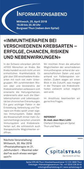 """Spital STS AG Thun - InformatIonsabend """"IMMUNTHERAPIEN BEI VERSCHIEDENEN KREBSARTEN,..."""" am 25. Apr."""