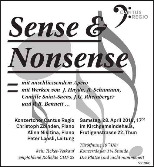 Cantus Regio - Sense & Nonsense am 28. April