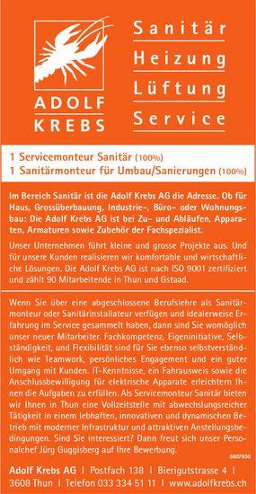 Servicemonteur Sanitär, Sanitärmonteur für Umbau/Sanierungen, Adolf Krebs AG, Thun, gesucht