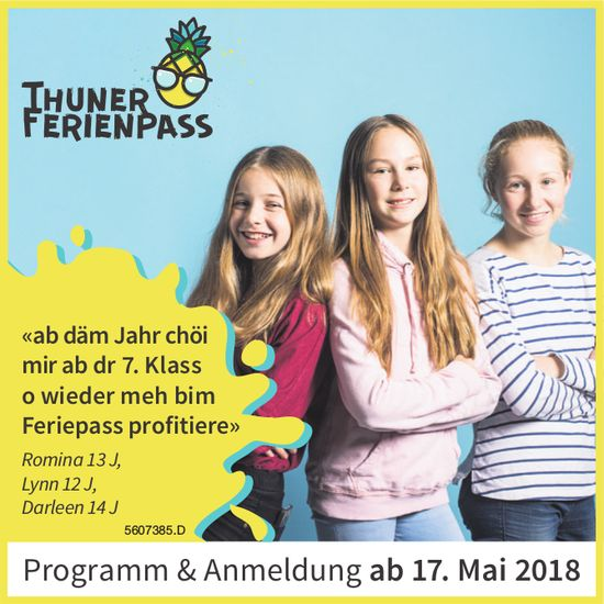 Thuner Ferienpass - Programm & Anmeldung ab 17. Mai