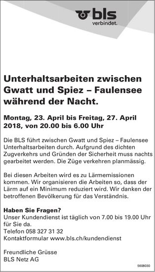 BLS Netz AG - Unterhaltsarbeiten zwischen Gwatt & Spiez – Faulensee während der Nacht