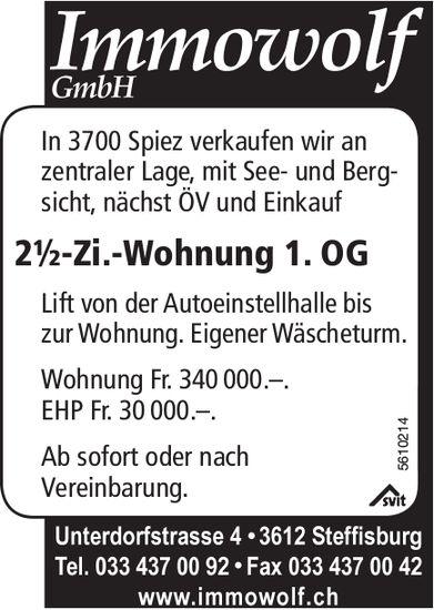 2½-Zi.-Wohnung 1. OG in Spiez zu verkaufen