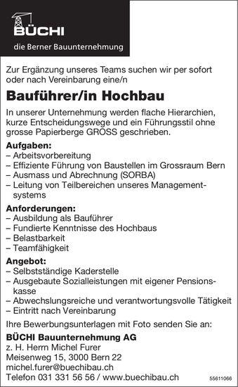 Bauführer/in Hochbau, Büchi Bauunternehmung AG, Bern, gesucht