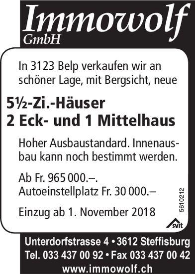 5½-Zi.-Häuser 2 Eck- und 1 Mittelhaus in Belp zu verkaufen