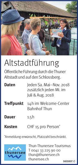Thun-Thunersee Tourismus - Altstadtführung jeden Sa., zusätzlich jeden Mi. im Juli & Aug. 2018
