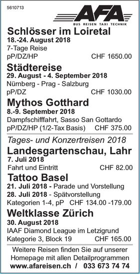 AFA Reisen - Programm & Events