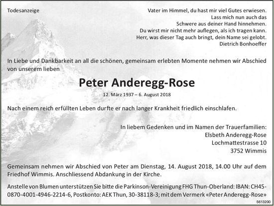 Anderegg-Rose Peter, August 2018 / TA