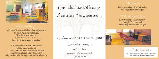 Geschäftseröffnung Zentrum Bewusstsein am 25. August