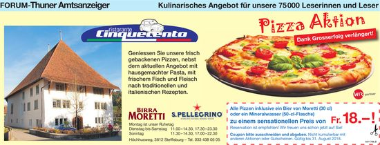 Forum-Thuner Amtsanzeiger - Ristorante Cinquecento Pizza Aktion