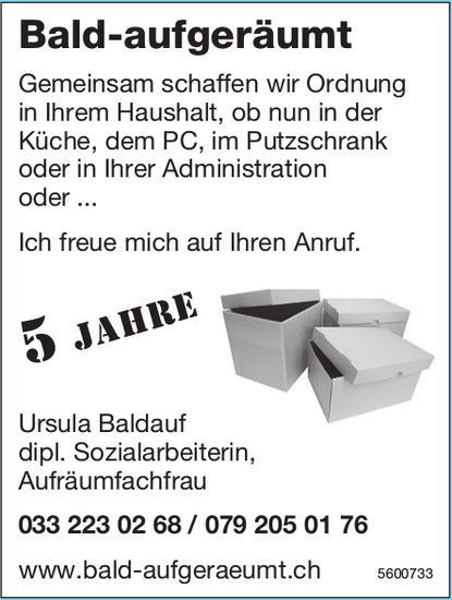 Ursula Baldauf Aufräumfachfrau - Bald-aufgeräumt