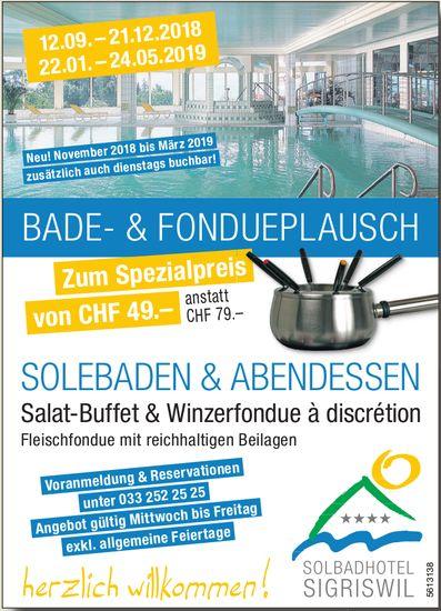 Solbadhotel Sigriswil - Bade- & Fondueplausch / Solebaden & Abendessen