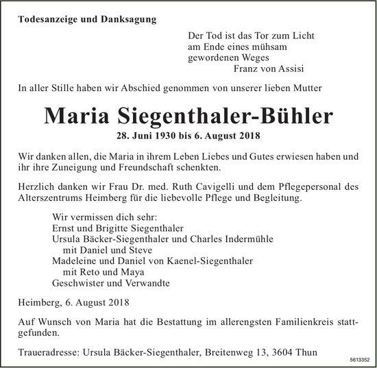 Siegenthaler-Bühler Maria, August 2018 / TA + DS