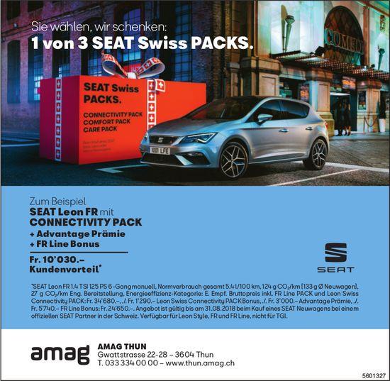 AMAG THUN - Sie wählen, wir schenken: 1 von 3 SEAT Swiss PACKS.