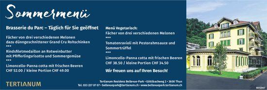 Tertianum Residenz Bellevue-Park - Sommermenü, Brasserie du Parc: Täglich für Sie geöffnet