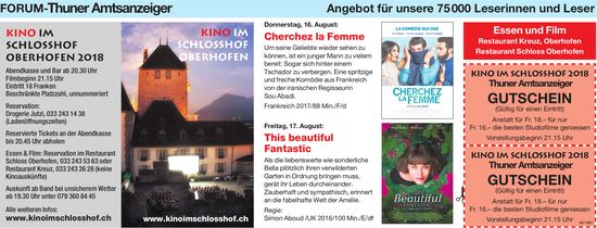Forum-Thuner Amtsanzeiger - Kino im Schlosshof Oberhofen, 16. + 17. August