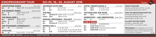 KINOPROGRAMM THUN, DO–MI, 16.– 22. AUGUST 2018