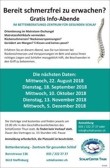 SchlafCenter Thun - Gratis Info-Abende, August - Dezember