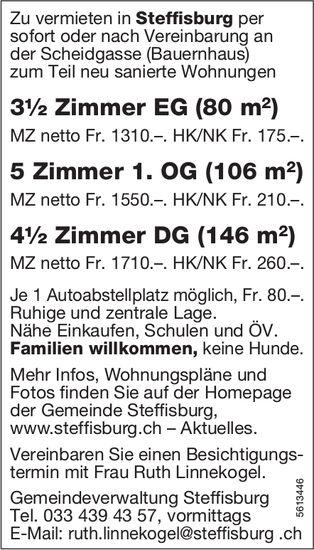 3.5- + 5- + 4.5-Zimmerwohnungen in Steffisburg zu vermieten